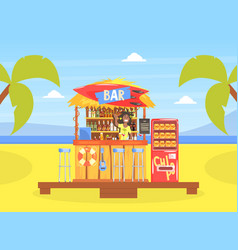 tropical beach cafe or bar with smiling bartender vector image