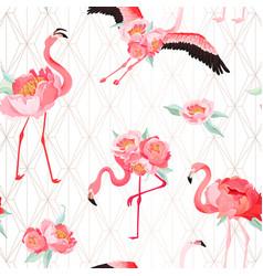 Tropical flamingo seamless summer pattern flowers vector