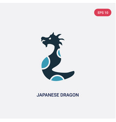 two color japanese dragon icon from animals vector image