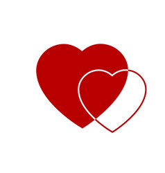 two red hearts icon hearts on transparent vector image