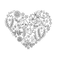 Uncolored floral heart with plants and bird nest vector