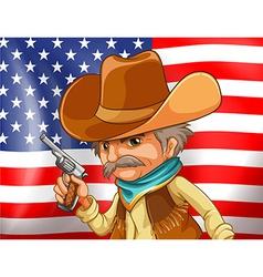 US flag and cowboy vector