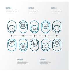 user outline icons set collection of stopwatch vector image