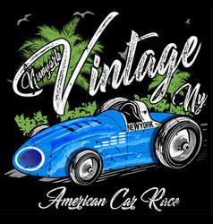 Vintage racing car print design vector