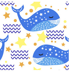 whale funny pattern vector image