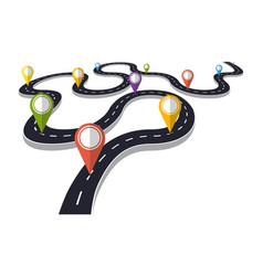 winding road with pin pointer vector image