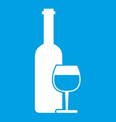 Wine bottle and glass icon white vector