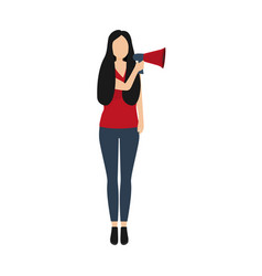 Woman speaks in a sound megaphone isolated on vector