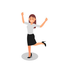 young woman standing on one leg with hands up vector image
