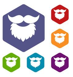 Beard and mustache icons set hexagon vector