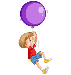 little boy and purple balloon vector image vector image