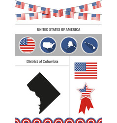 map of district of columbia set of flat design vector image vector image