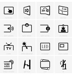 Monitor technology icons vector image vector image