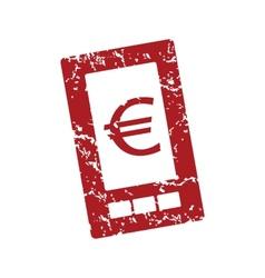 Red grunge euro phone logo vector