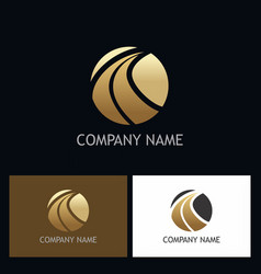 round abstract gold company logo vector image
