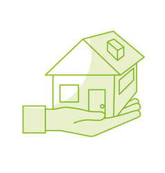 Silhouette hand with house architecture design vector