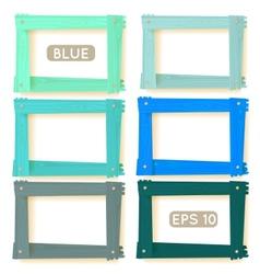 Wooden picture frames blue set vector image vector image