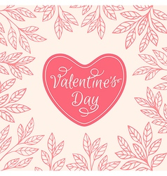 Decorative floral background with heart vector