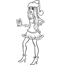 girl santa claus coloring page vector image vector image