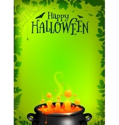 Green Halloween poster template with orange potion vector image vector image