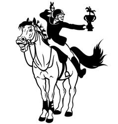 rider winner black white vector image