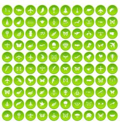 100 fly icons set green circle vector