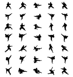Black karate silhouettes vector image