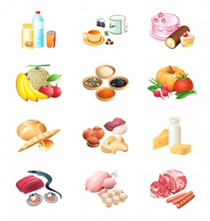 food market icons vector image vector image
