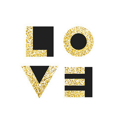 Love typography t-shirt graphics Gold geometric vector image vector image