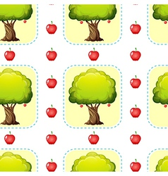 Seamless design with apples and trees vector image vector image