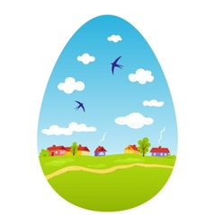 Spring landscape in the form of Easter egg vector image vector image