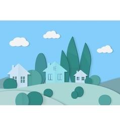 Village cardboard paper landscape House vector image vector image