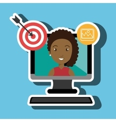 woman with computer isolated icon design vector image