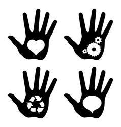 black hand prints with idea symbols vector image vector image