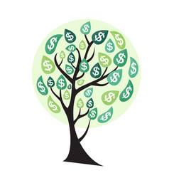 colored money tree dependence of financial growth vector image vector image