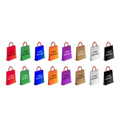 Colorful Paper Shopping Bags for Cyber Monday vector image