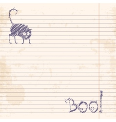 Halloween cat Boo Sketch on notebook ruled paper vector image