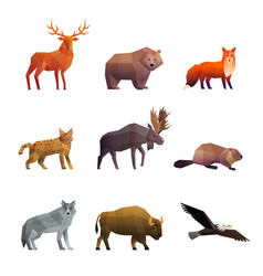 Northern wild animals polygonal icons set vector