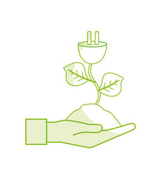 Silhouette hand with power cable plant with leaves vector
