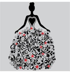 silhouette of elegant dress vector image vector image