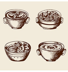 Vintage hand drawn soup vector image