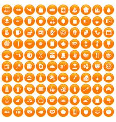 100 cooking icons set orange vector