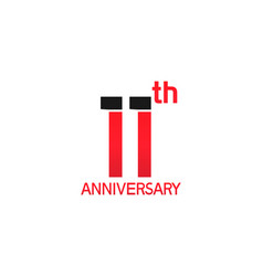 11 years anniversary logotype with black and red vector