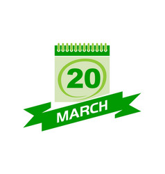 20 march calendar with ribbon vector