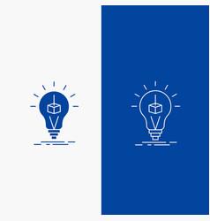 3d cube idea bulb printing box line and glyph web vector image