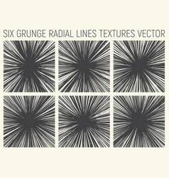 6 grunge radial lines textures vector image