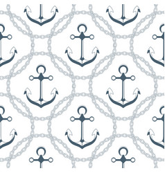 anchor in a frame with a chain seamless nautical vector image