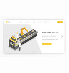 Assembly line factory landing page template vector