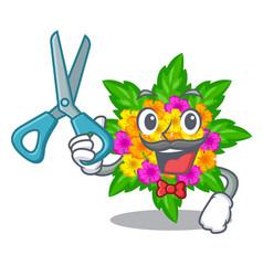 Barber lantana flowers in the mascot pots vector