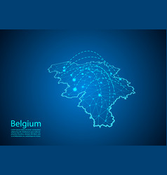 belgium map with nodes linked by lines concept of vector image